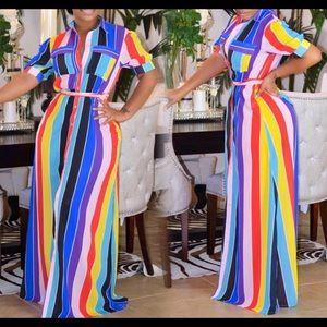 Dresses & Skirts - New Rainbow Stripe Maxi Dress